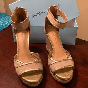 Antonio Melani Gold Wedge Sandals